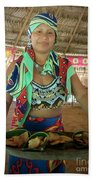 Embera Indian Lady Serving A Meal Beach Towel