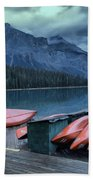 Emerald Lake Canoes Beach Towel