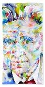 Emil Cioran - Watercolor Portrait Beach Towel