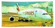 Emirates A380 Airbus Pop Art Beach Sheet