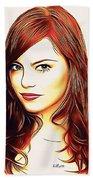Emma Stone Portrait Colored Pencil Beach Towel