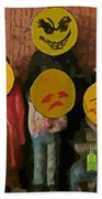 Emoji Family Victims Of Substance Abuse Beach Towel