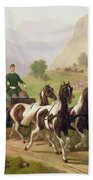 Emperor Franz Joseph I Of Austria Being Driven In His Carriage With His Wife Elizabeth Of Bavaria I Beach Towel