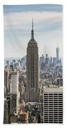 Empire State Building And Manhattan Skyline, New York City, Usa Beach Towel