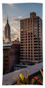 Empire State Building Sunset Rooftop Garden Beach Towel