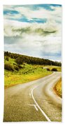 Empty Asphalt Road In Countryside Beach Towel