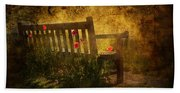Empty Bench And Poppies Beach Towel