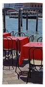 Empty Canal Side Tables Awaiting Hungry Customers In Venice, Italy  Beach Towel