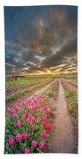 Endless Tulip Field Beach Sheet