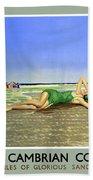 England Cambrian Coast Vintage Travel Poster Beach Towel
