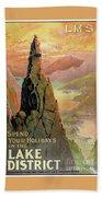 England Lake District Vintage Travel Poster Beach Sheet