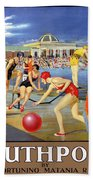 England Southport Restored Vintage Travel Poster Beach Sheet