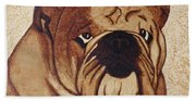 English Bulldog Coffee Painting Beach Towel
