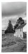 English Cottage In Winter Beach Towel