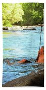 Enjoying The Cool Creek Beach Towel