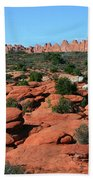 Entrada Sandstone Formations - Arches National Park Beach Towel