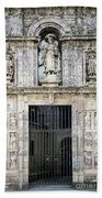 Entrance Facade In Landmark Cathedral Of Santiago De Compostela  Beach Towel