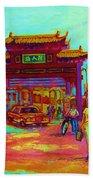 Entrance To Chinatown Beach Towel by Carole Spandau