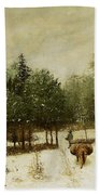 Entrance To The Forest In Winter Beach Towel by Cherubino Pata