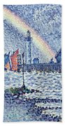 Entrance To The Port Of Honfleur Beach Towel