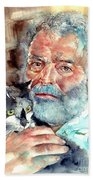 Ernest Hemingway Watercolor Beach Sheet