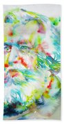 Ernst Haeckel - Watercolor Portrait Beach Towel