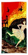 Escape From The Burning House Beach Towel