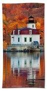 Esopus Lighthouse In Late Fall #3 Beach Towel
