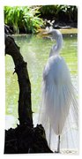 Ethereal Snowy Egret Beach Towel