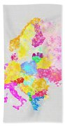 Europe Map Beach Towel by Setsiri Silapasuwanchai
