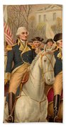 Evacuation Day And Washington's Triumphal Entry In New York City Beach Towel