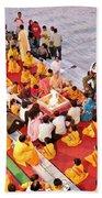 Evening Aarti - Rishikesh India Beach Towel