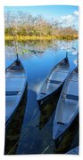 Evening Canoes At The Dock Beach Towel