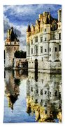 Evening Falls At The Castle Beach Towel