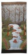 Evening Forest Waterfall Beach Towel