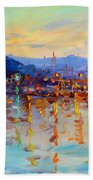 Evening Reflections In Piermont Dock Beach Towel