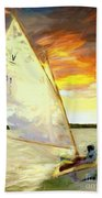 Evening Sail  Beach Towel
