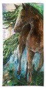 Ever Green  Earth Horse Beach Towel