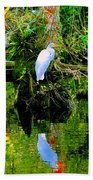 Everglades Egret Beach Towel