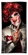 Evil Blood Stained Clown Contemplating Homicide Beach Towel
