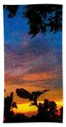 Exagerated Sunset Painting Beach Towel