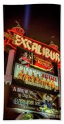 Excalibur Casino Sign Night Beach Towel