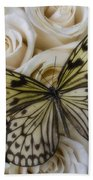 Exotic Butterfly On White Roses Beach Towel