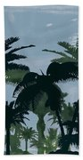 Exotic Palm Trees Silhouettes Water Color Beach Towel