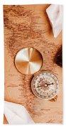 Explorer Desk With Compass, Map And Spyglass Beach Towel