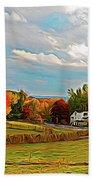 Expressionalism Autumn Farm Beach Towel