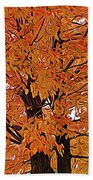 Expressionalism Golden Tree Beach Towel