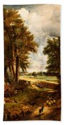 Extensive Landscape With Boy Drinking Water Beach Towel