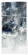 F-hana Eurocopter Ec-130 Landing Helicopter At Courchevel Beach Towel