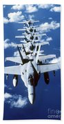 Fa-18c Hornet Aircraft Fly In Formation Beach Towel